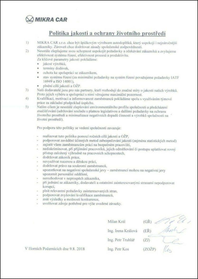 Certifikát MIKRA