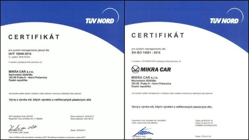 certifikáty MIKRA